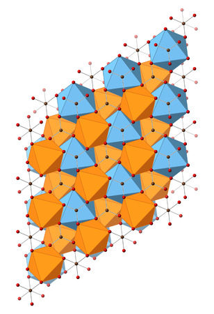 carbonate: Dolomite (calcium magnesium carbonate, CaMg(CO3)2) mineral, crystal structure. Atoms shown as spheres and polyhedra.