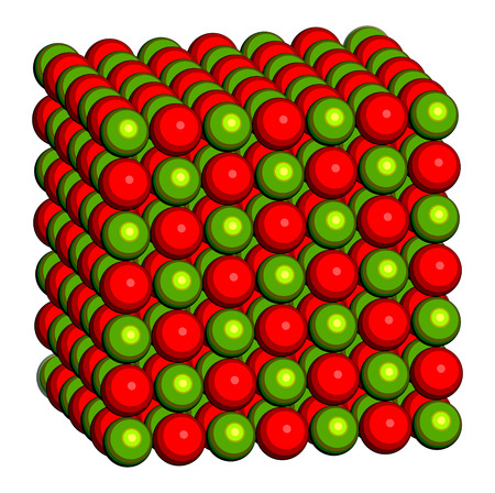 quicklime: Calcium oxide (CaO, quicklime, burnt lime), crystal structure. Essential ingredient of cement. Oxygen atom shown as red spheres, calcium as green spheres. Stock Photo