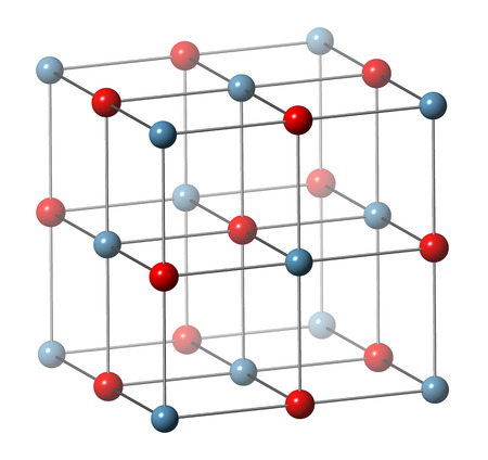 limelight: Calcium oxide (CaO, quicklime, burnt lime), crystal structure. Essential ingredient of cement. Oxygen atom shown as red spheres, calcium as blue spheres. Unit cell.
