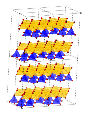 mesothelioma: Chrysotile asbestos, crystal structure. Atoms shown as combination of sphere and polyhedral representations (oxygen, red; silicium, blue; magnesium, yellow).