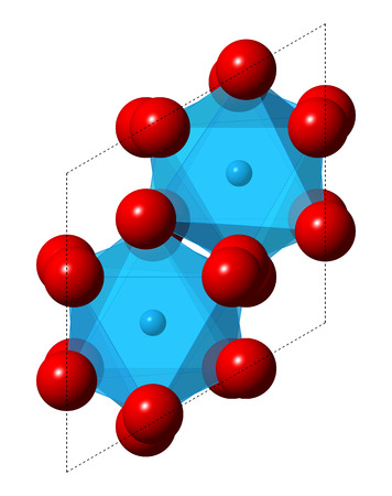 oxide: Corundum (Aluminium oxide), crystal structure. Ruby gems consist of red transparent corundum, sapphire from other color varieties of transparent corundum. Oxygen shown as red spheres, aluminium as  blue spheres + transparent polyhedra. Stock Photo