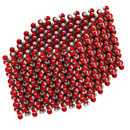 HIDROGENO: Hielo (agua congelada, hexagonal), estructura cristalina. Los átomos que se muestran como códigos de colores esferas: el oxígeno, rojo; hidrógeno, blanco. Foto de archivo