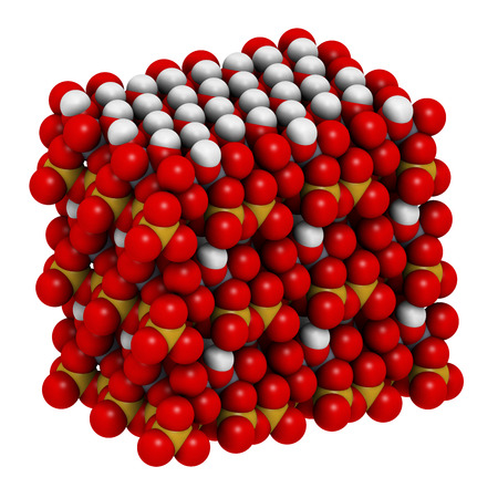 kaolin: Kaolinite clay mineral, crystal structure. Atoms shown as spheres. Stock Photo