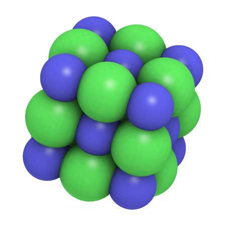 sodium: Sodium chloride (rock salt, halite, table salt), crystal structure. Atoms shown as color-coded spheres (Na, blue; Cl, green).