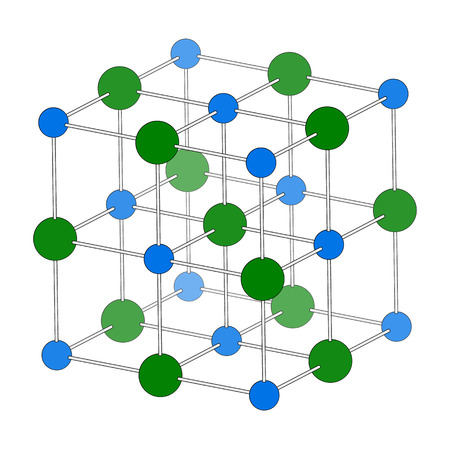 sodium: Sodium chloride (rock salt, halite, table salt), crystal structure. Atoms shown as color-coded spheres (Na, blue; Cl, green). Unit cell. Stock Photo