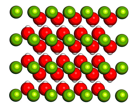 slack: Portlandite (calcium hydroxide, Ca(OH)2, slaked lime, hydrated lime) mineral, crystal structure. Atoms shown as spheres (oxygen, red; hydrogen, pink; calcium, green).