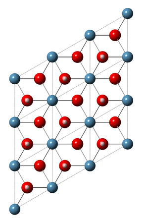 hydroxide: Portlandite (calcium hydroxide, Ca(OH)2, slaked lime, hydrated lime) mineral, crystal structure. Atoms shown as spheres (oxygen, red; hydrogen, pink; calcium, blue).
