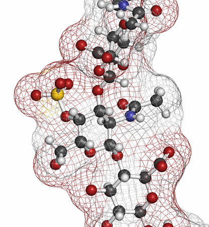 osteoarthritis: Chondroitin sulphate (short fragment). Important component of cartilage. Used as dietary supplement in treatment of osteoarthritis. Atoms are represented as spheres with conventional color coding.