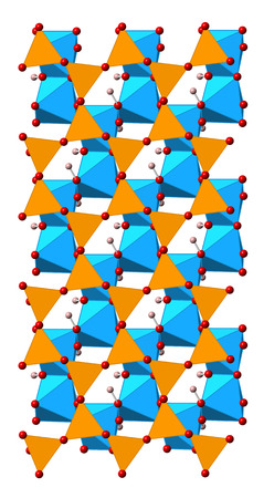 kaolin: Kaolinite clay mineral, crystal structure. Shown as mixed spheres-polyhedral model.