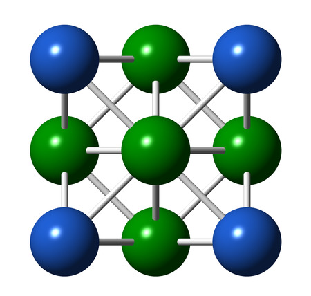 precious metal: Silver metal, crystal structure. Precious metal, used in electronics, medicine, jewelry, etc. Unit cell. Corner and center atoms are shown in different colors.