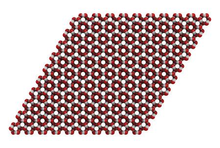 hidrogeno: Hielo (agua congelada, hexagonal), estructura cristalina. Los �tomos que se muestran como c�digos de colores esferas: el ox�geno, rojo; hidr�geno, blanco. Foto de archivo