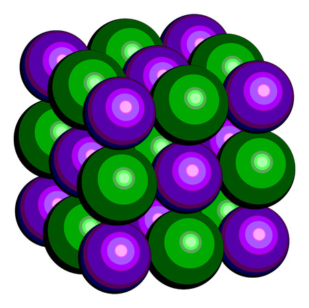 electrolyte: Potassium chloride (sylvite) mineral, crystal structure. Used in fertilizer, as drug in treatment of hypokalemia and in lethal injections. Atoms are shown as conventionally colored spheres (K, purple; Cl, green).