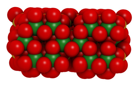silicium: Chrysotile asbestos, crystal structure. Atoms shown as spheres with conventional coloring (oxygen, red; silicium, yellow; magnesium, green). Stock Photo