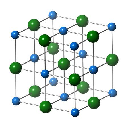 Sodium chloride (rock salt, halite, table salt), crystal structure. Atoms shown as color-coded spheres (Na, blue; Cl, green). Unit cell. Foto de archivo