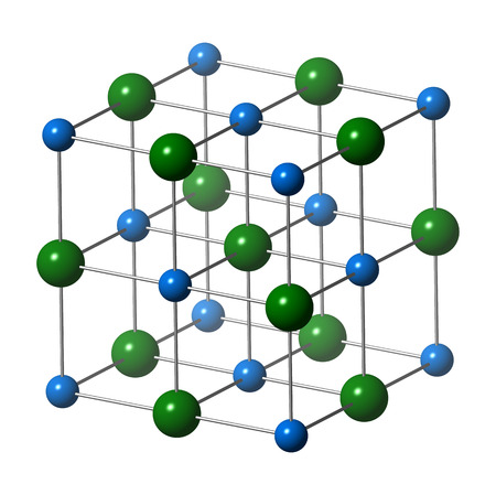 Sodium chloride (rock salt, halite, table salt), crystal structure. Atoms shown as color-coded spheres (Na, blue; Cl, green). Unit cell. Stock Photo
