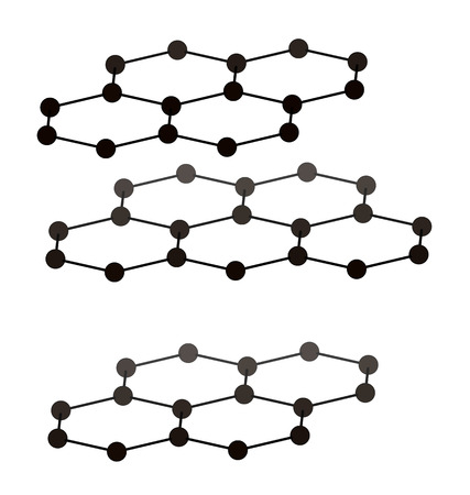 Graphite, crystal structure. Also known as pencil lead. Atoms from 3 layers are shown to illustrate layer stacking. Imagens