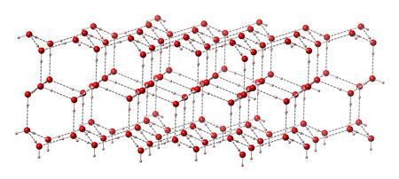 Hielo Agua Congelada Hexagonal Estructura Cristalina Los átomos Se Representan Como Esferas De Color Codificado Rosa De Hidrógeno Rojo De