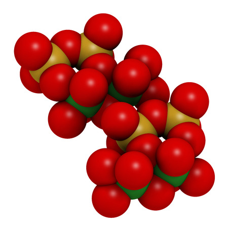 mesothelioma: Chrysotile asbestos, crystal structure. Atoms shown as spheres with conventional coloring (oxygen, red; silicium, yellow; magnesium, green). Stock Photo