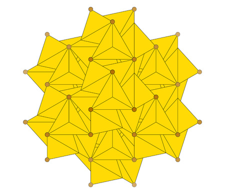 sulfide: Pyrite (fools gold, Fe2S) mineral, crystal structure. Atoms shown as spheres and polyhedra. Iron, brown; sulfur, yellow.