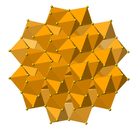 pyrite: Pyrite (fools gold, Fe2S) mineral, crystal structure. Atoms shown as spheres and polyhedra. Iron, brown; sulfur, yellow.