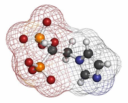 phosphorus: Zoledronic acid (zoledronate) osteoporosis drug molecule (bisphosphonate class). Atoms are represented as spheres with conventional color coding: hydrogen (white), carbon (grey), nitrogen (blue), oxygen (red), phosphorus (orange). Stock Photo