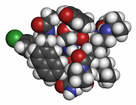 generic drugs: Abarelix drug molecule (gonadotropin-releasing hormone, GnRH antagonist). Atoms are represented as spheres with conventional color coding: hydrogen (white), carbon (grey), oxygen (red), nitrogen (blue), chlorine (green).
