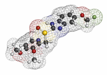 inhibitor: Pantoprazole gastric ulcer drug molecule (proton pump inhibitor). Atoms are represented as spheres with conventional color coding: hydrogen (white), carbon (grey), oxygen (red), nitrogen (blue), sulfur (yellow), fluorine (light green).