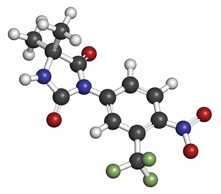 fluorine: Nilutamide prostate cancer drug molecule (antiandrogen). Atoms are represented as spheres with conventional color coding: hydrogen (white), carbon (grey), nitrogen (blue), oxygen (red), fluorine (light green). Stock Photo