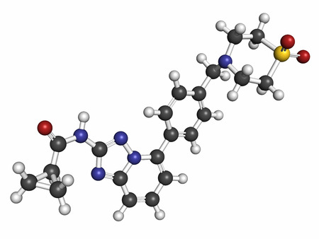 janus: Filgotinib anti-inflammatory drug molecule. Janus kinase 1 inhibitor used in treatment of rheumatoid arthritis and Crohns disease. Atoms are represented as spheres with conventional color coding: hydrogen (white), carbon (grey), oxygen (red), nitrogen (b