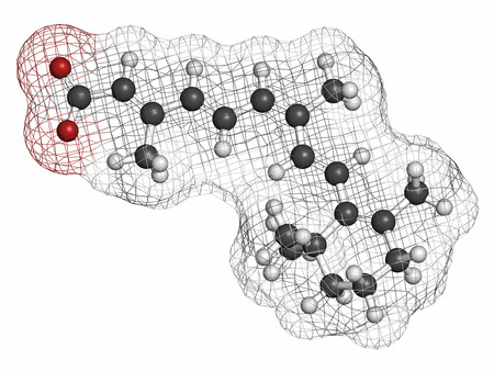 sarcoma: Alitretinoin (9-cis-retinoic acid) cancer and eczema drug molecule. Analog of vitamin A. Atoms are represented as spheres with conventional color coding: hydrogen (white), carbon (grey), oxygen (red).