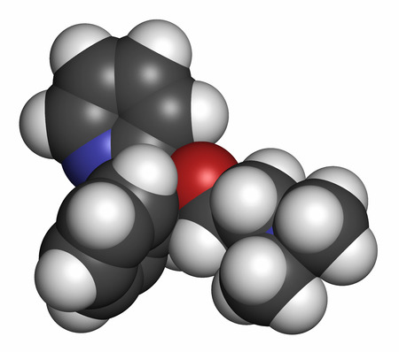 sedative: Doxylamine antihistamine drug molecule. Also used as over-the-counter (OTC) sedative. Atoms are represented as spheres with conventional color coding: hydrogen (white), carbon (grey), oxygen (red), nitrogen (blue).