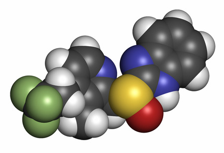 proton: Dexlansoprazole gastric ulcer drug molecule (proton pump inhibitor). Atoms are represented as spheres with conventional color coding: hydrogen (white), carbon (grey), oxygen (red), nitrogen (blue), sulfur (yellow), fluorine (light green).
