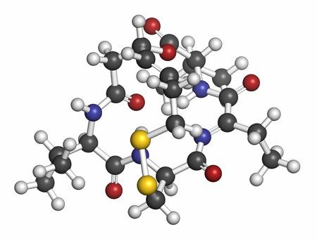 apoptosis: Mol�cula Romidepsin c�ncer de drogas (inhibidor de la histona deacetilasa). Los �tomos se representan como esferas con codificaci�n de colores convencionales: hidr�geno (blanco), carb�n (gris), ox�geno (rojo), nitr�geno (azul), azufre (amarillo).