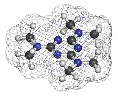 generic drugs: Altretamine cancer drug molecule. Atoms are represented as spheres with conventional color coding: hydrogen (white), carbon (grey), nitrogen (blue).