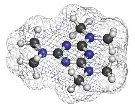 HIDROGENO: cáncer altretamina molécula de fármaco. Los átomos se representan como esferas con codificación de colores convencionales: hidrógeno (blanco), carbono (gris), nitrógeno (azul). Foto de archivo