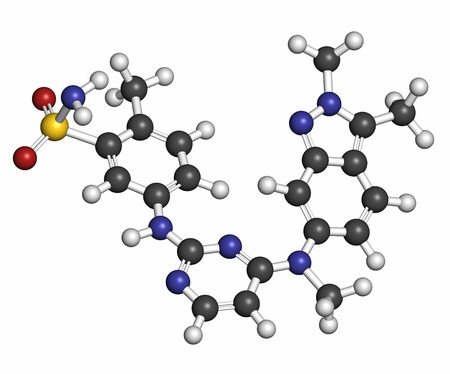 sarcoma: Pazopanib cancer drug molecule (tyrosine kinase inhibitor class). Atoms are represented as spheres with conventional color coding: hydrogen (white), carbon (grey), oxygen (red), nitrogen (blue), sulfur (yellow).