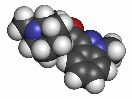 vomiting: Granisetron nausea and vomiting drug molecule. Atoms are represented as spheres with conventional color coding: hydrogen (white), carbon (grey), oxygen (red), nitrogen (blue).