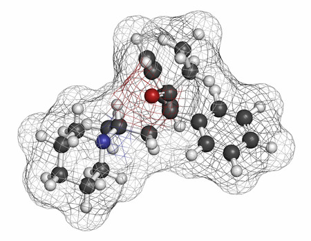 analgesic: Dipipanone opioid analgesic drug molecule. Atoms are represented as spheres with conventional color coding: hydrogen (white), carbon (grey), oxygen (red), nitrogen (blue).