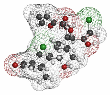 hayfever: Mometasone furoate steroid drug molecule. Prodrug of mometasone. Atoms are represented as spheres with conventional color coding: hydrogen (white), carbon (grey), oxygen (red), chlorine (green). Stock Photo