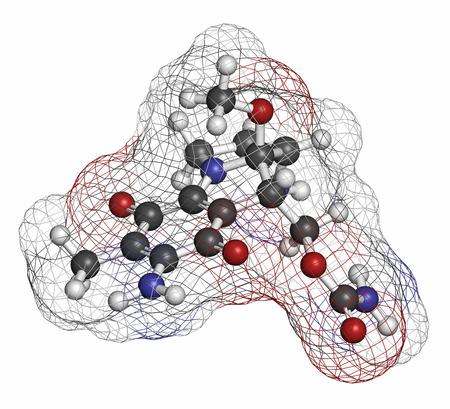 hidrogeno: Mitomicina C mol�cula de medicamento contra el c�ncer. Los �tomos se representan como esferas con codificaci�n de colores convencionales: hidr�geno (blanco), carbono (gris), nitr�geno (azul).