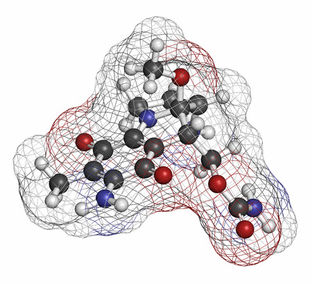 generic drugs: Mitomycin C cancer drug molecule. Atoms are represented as spheres with conventional color coding: hydrogen (white), carbon (grey), nitrogen (blue).
