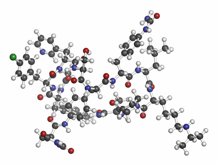 hipofisis: Degarelix próstata molécula de medicamento contra el cáncer. Los átomos se representan como esferas con codificación de colores convencionales: hidrógeno (blanco), carbón (gris), nitrógeno (azul), oxígeno (rojo), cloro (verde). Foto de archivo