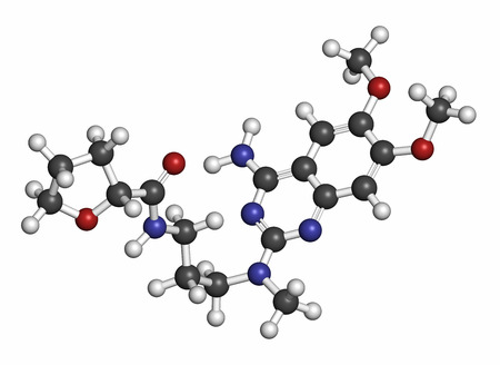 prostatic: Alfuzosin benign prostate hyperplasia (BPH) drug molecule. Atoms are represented as spheres with conventional color coding: hydrogen (white), carbon (grey), oxygen (red), nitrogen (blue).