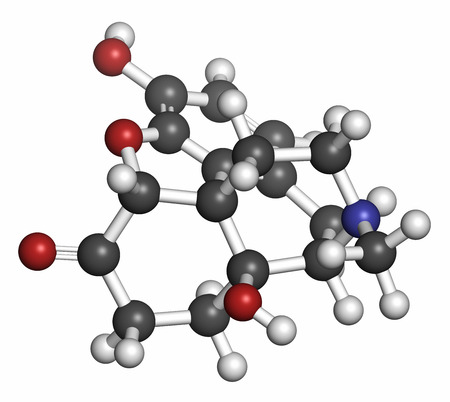 analgesic: Oxymorphone opioid analgesic drug molecule. Atoms are represented as spheres with conventional color coding: hydrogen (white), carbon (grey), oxygen (red), nitrogen (blue). Stock Photo