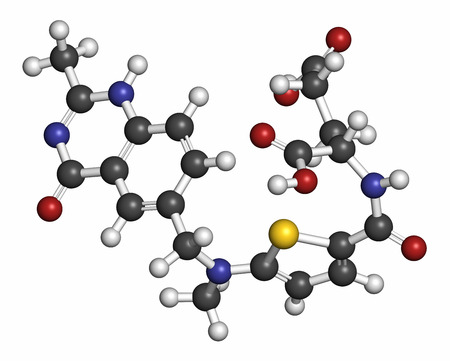 mesothelioma: Raltitrexed cancer chemotherapy drug molecule. Atoms are represented as spheres with conventional color coding: hydrogen (white), carbon (grey), oxygen (red), nitrogen (blue), sulfur (yellow).