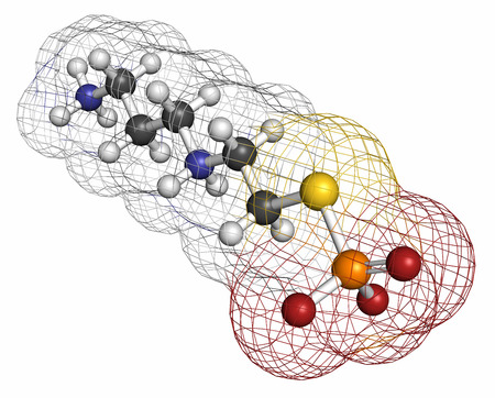 adjuvant: Amifostine cancer drug molecule. Adjuvant drug that protects against cancer chemotherapy side effects. Atoms are represented as spheres with conventional color coding: hydrogen (white), carbon (grey), oxygen (red), nitrogen (blue), phosphorus (orange), su