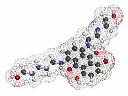 inhibitor: Mitoxantrone cancer drug molecule (type II topoisomerase inhibitor). Atoms are represented as spheres with conventional color coding: hydrogen (white), carbon (grey), nitrogen (blue), oxygen (red).