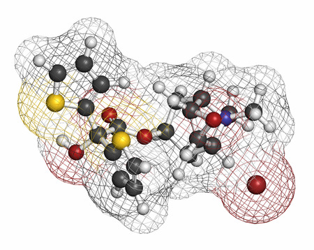 anticholinergic: Tiotropium bromide chronic obstructive pulmonary disease (COPD) drug molecule. Atoms are represented as spheres with conventional color coding: hydrogen (white), carbon (grey), oxygen (red), nitrogen (blue), sulfur (yellow), bromine (brown).