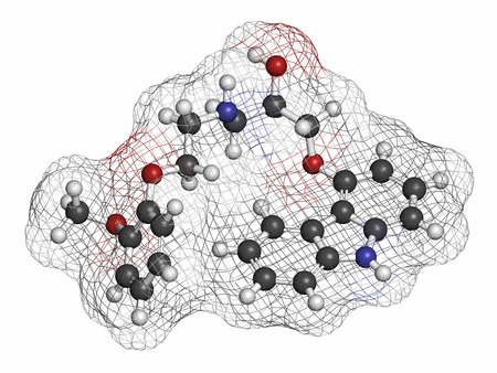 generic drugs: Carvedilol congestive heart failure drug molecule. Atoms are represented as spheres with conventional color coding: hydrogen (white), carbon (grey), oxygen (red), nitrogen (blue).