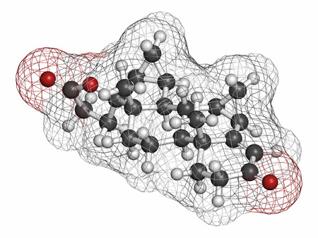 drug control: Drospirenone contraceptive drug molecule. Progestin used in birth control pills. Atoms are represented as spheres with conventional color coding: hydrogen (white), carbon (grey), oxygen (red).